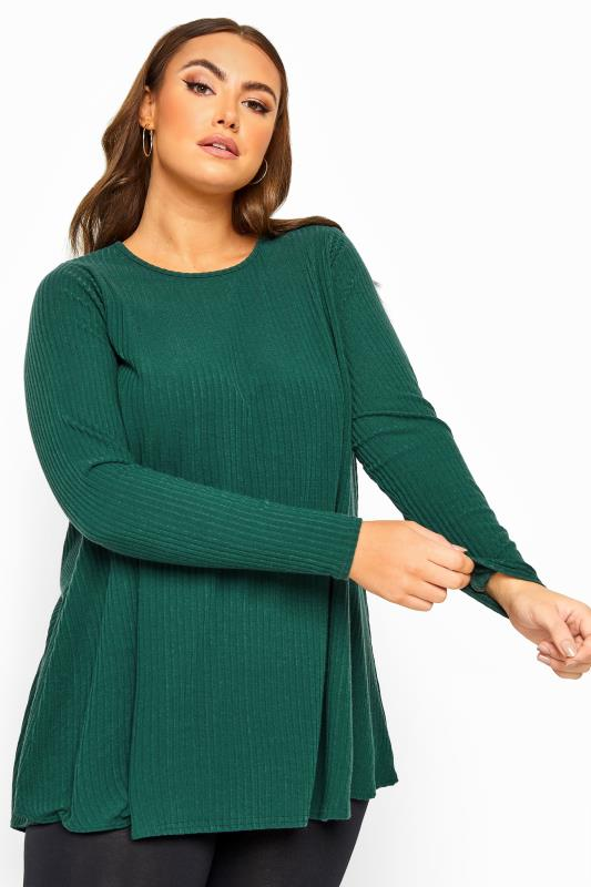 Plus Size  LIMITED COLLECTION Forest Green Ribbed Long Sleeve Top
