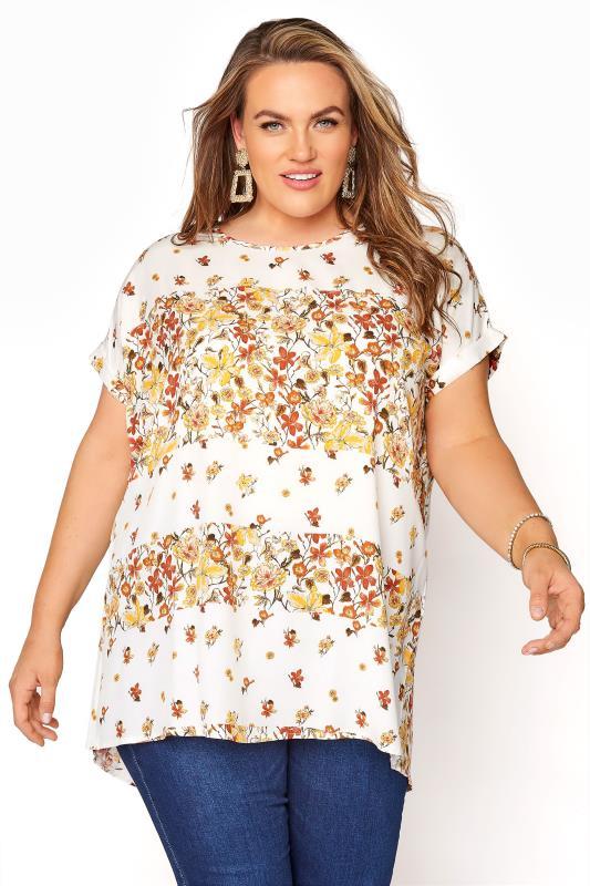 Plus Size  White Floral Oversized Blouse