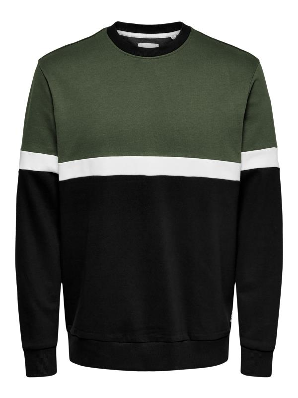 Großen Größen Sweatshirts ONLY & SONS Khaki Colour Block Crew Neck Sweatshirt
