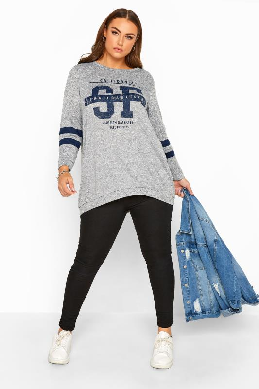 Grey Varsity Dipped Hem Sweatshirt