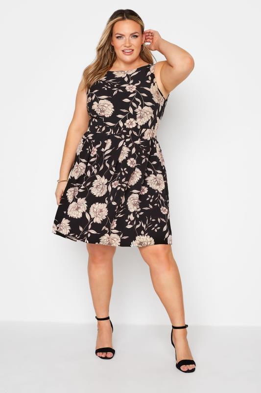 Großen Größen  Black Floral Print Skater Midi Dress