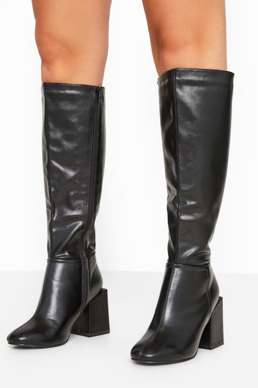 Wide Fit Boots LIMITED COLLECTION Black Faux Leather Knee High Heeled Boots In Extra Wide Fit