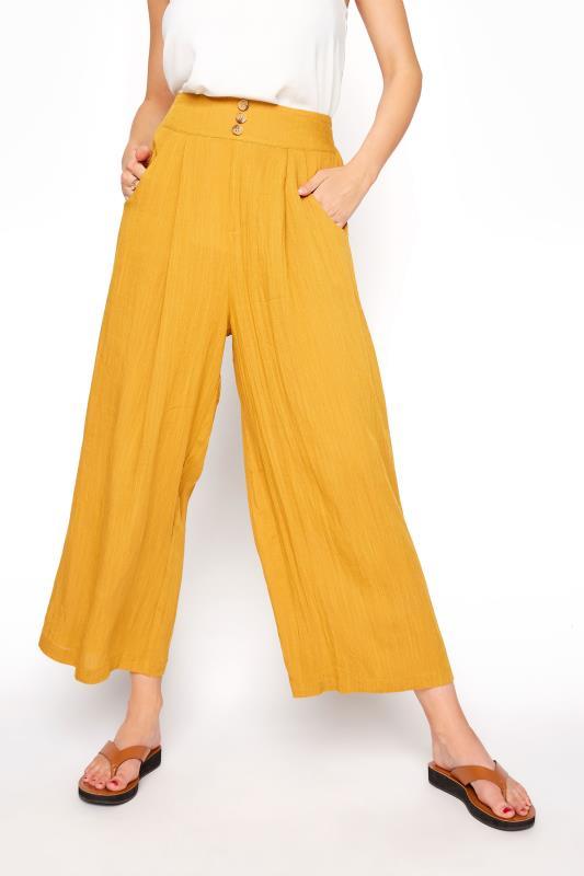 LTS Ochre Yellow Linen Blend Button Pleat Front Culottes_B.jpg