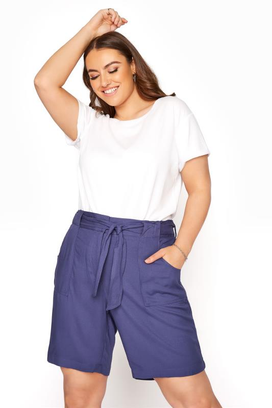 Plus Size  Blue Belted Shorts