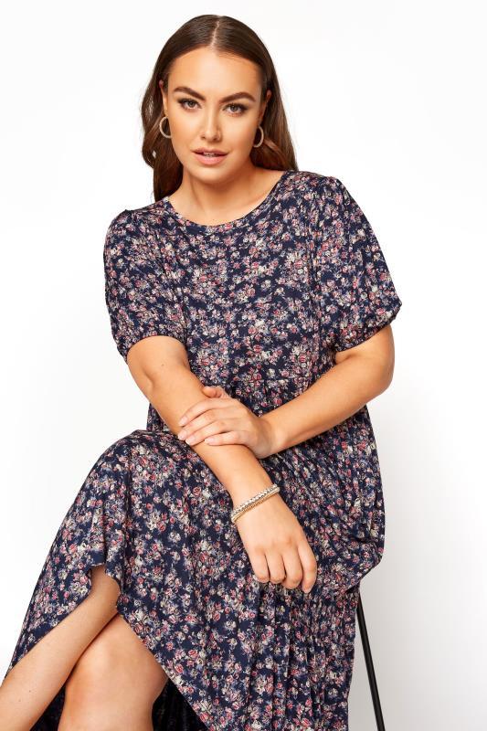 Navy Floral Puff Sleeve Midaxi Dress_D.jpg