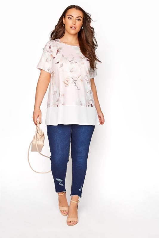 YOURS LONDON Pinkfarbenes florales T-Shirt mit Saum aus Chiffon