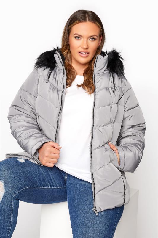 Grey PU Trim Panelled Puffer Jacket_A.jpg