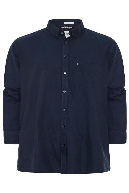 Plus Size  BEN SHERMAN Navy Signature Long Sleeve Oxford Shirt