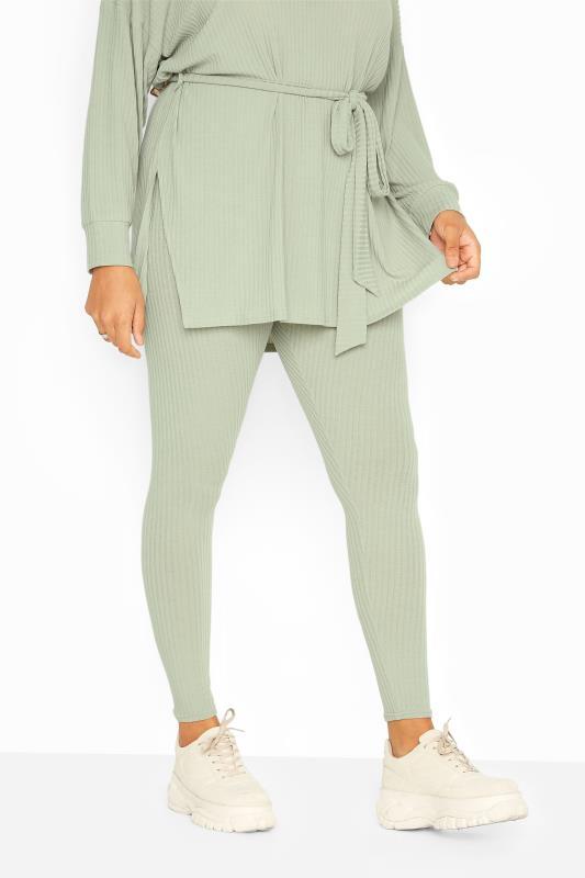 Geribbelde legging met elastische taille in saliegroen