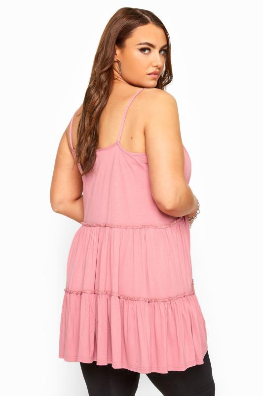 Pink Strappy Tiered Peplum Smock Tunic