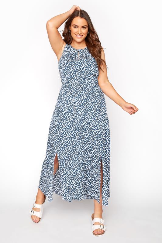 Plus Size  Cobalt Blue Ditsy Floral Keyhole Dress