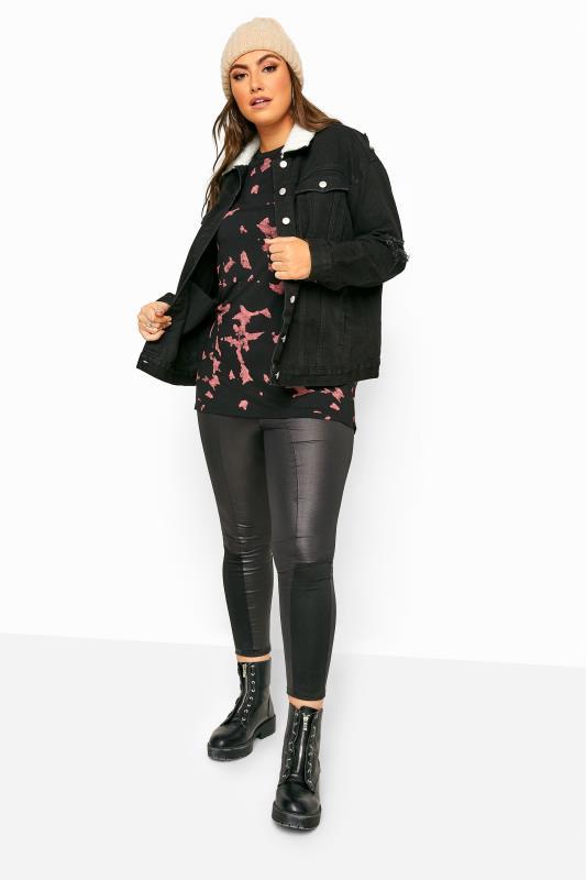 Black Distressed Teddy Collar Denim Jacket