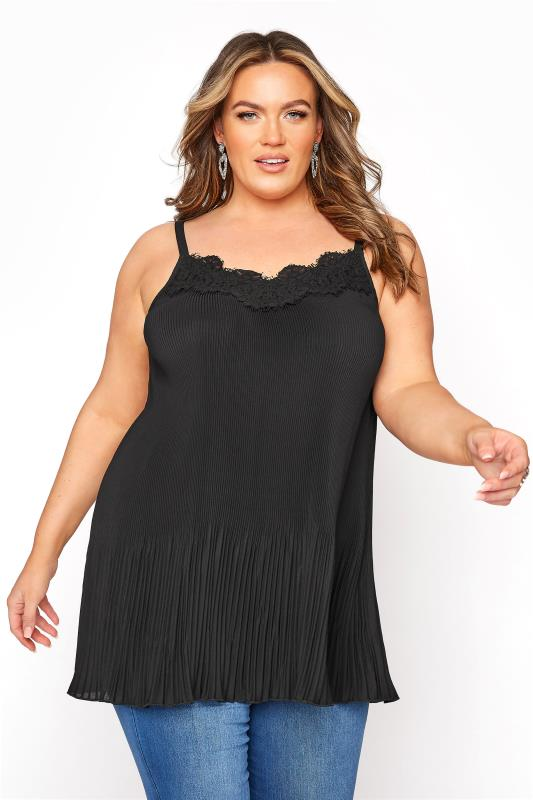 Plus Size  YOURS LONDON Black Pleat Lace Cami