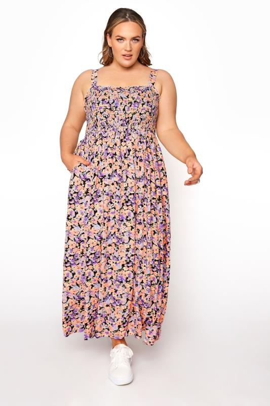 LIMITED COLLECTION Peach Floral Shirred Bust Strappy Dress