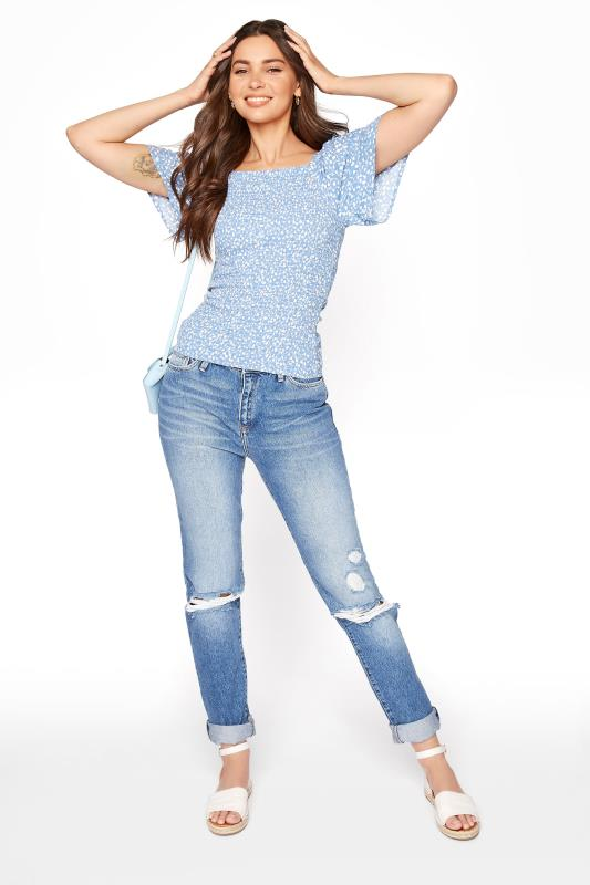 Blue Floral Print Shirred Body Top