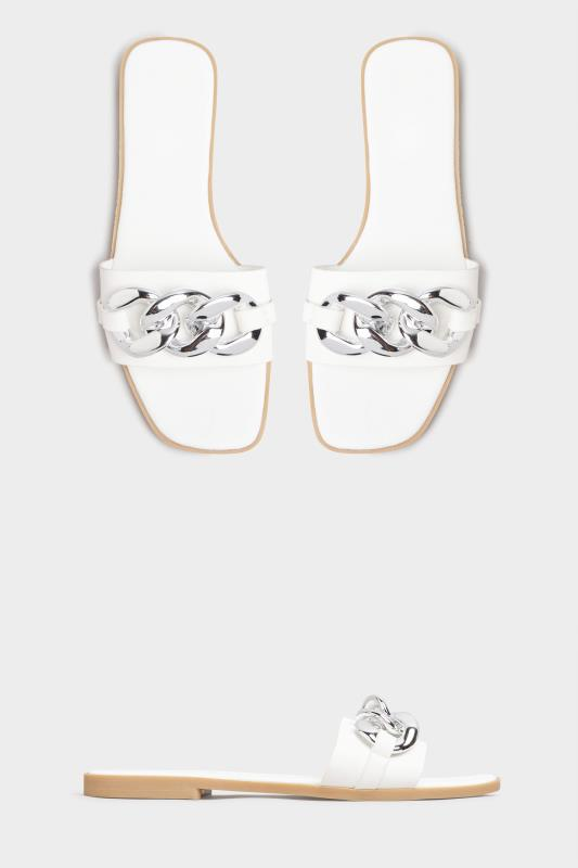 Yours White Chain Trim Mules in Regular Fit