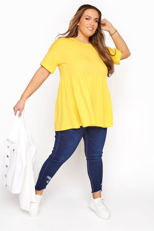 Lemon Yellow Drop Shoulder Peplum Tunic