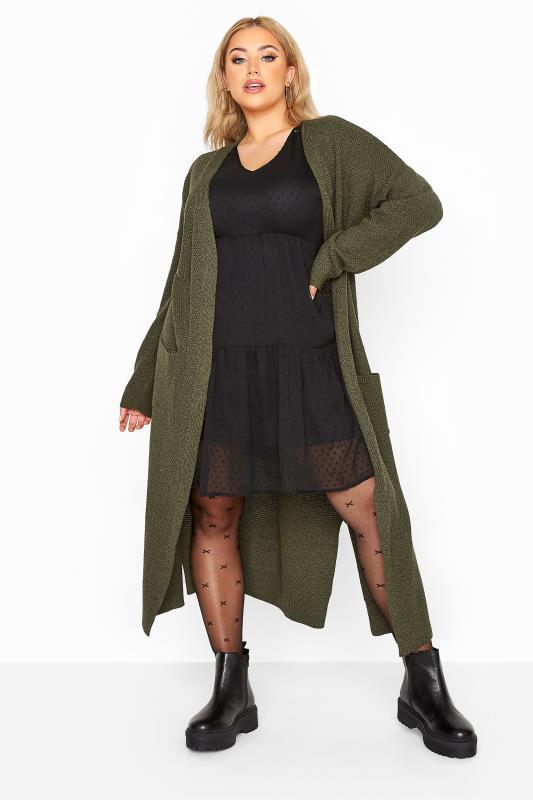 Khaki Chunky Knitted Midi Cardigan