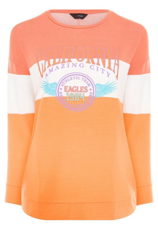 Orange Colour Block 'California' Slogan Sweatshirt_F.jpg