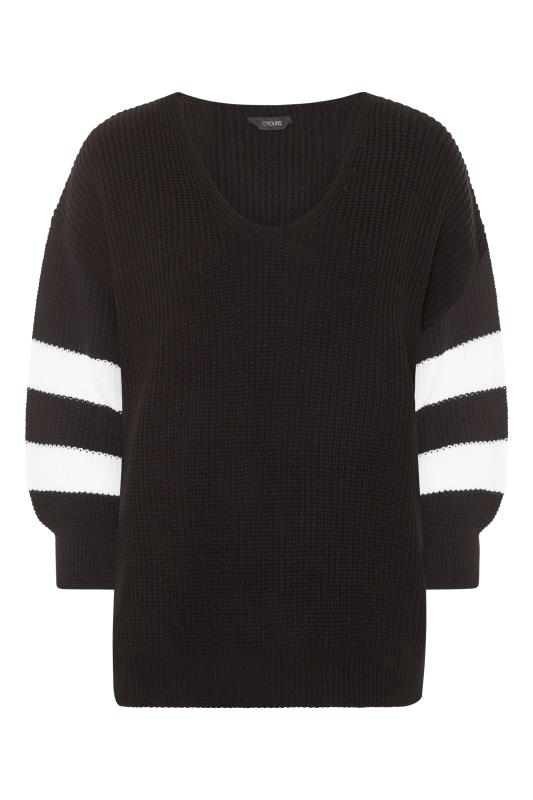 Plus Size  Black Varsity Stripe Knitted Jumper