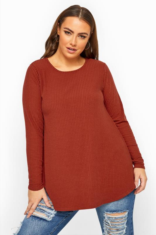 Plus Size  LIMITED COLLECTION Rust Orange Ribbed Long Sleeve Top