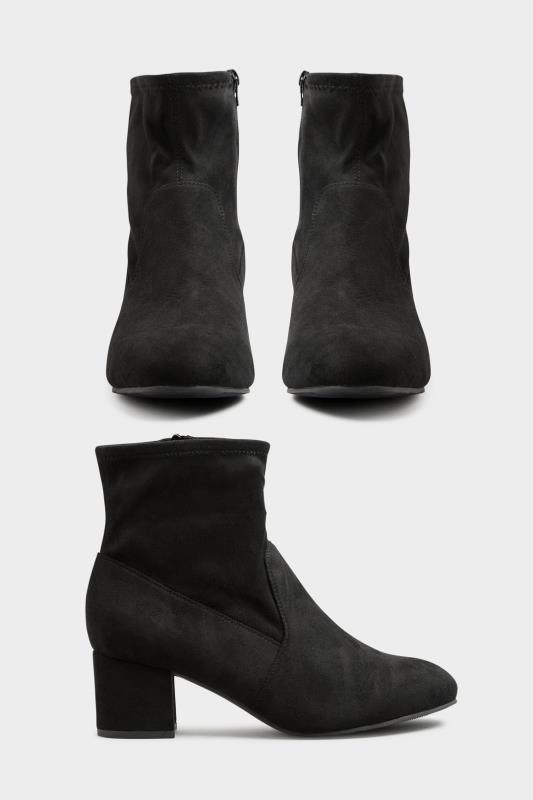 Black Faux Suede Stretch Block Heeled Boots In Extra Wide Fit_A.jpg