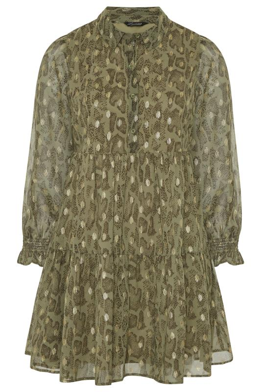 LIMITED COLLECTION Khaki Foil Snake Tiered Shirt Dress_F.jpg