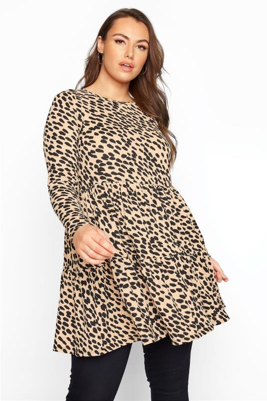 Plus Size  Stone Animal Print Tiered Tunic