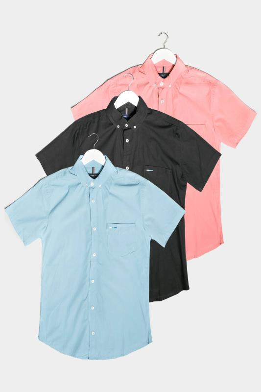 Men's  BadRhino Multi 3 Pack Essential Short Sleeve Oxford Shirts
