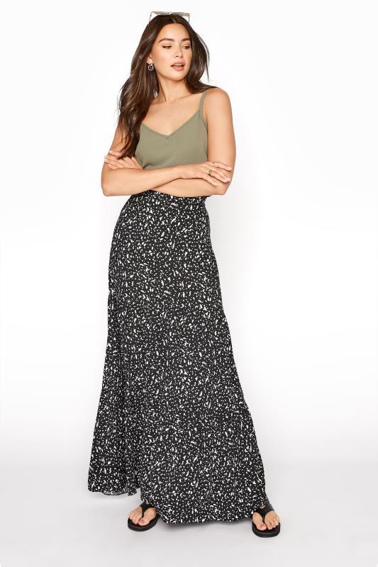 Tall  LTS Black Animal Print Tiered Maxi Skirt