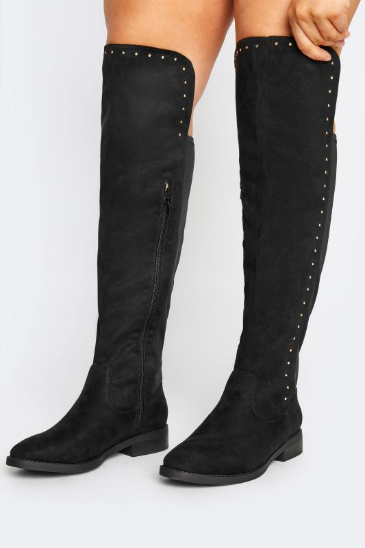 Plus Size  LIMITED COLLECTION Black Stud Over The Knee Boots In Extra Wide Fit