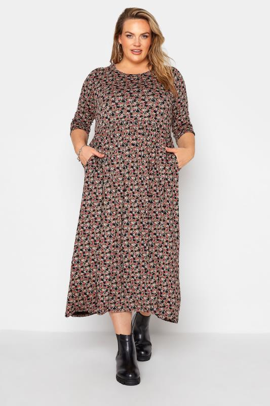 Black Ditsy Print Pocket Midaxi Dress_A.jpg