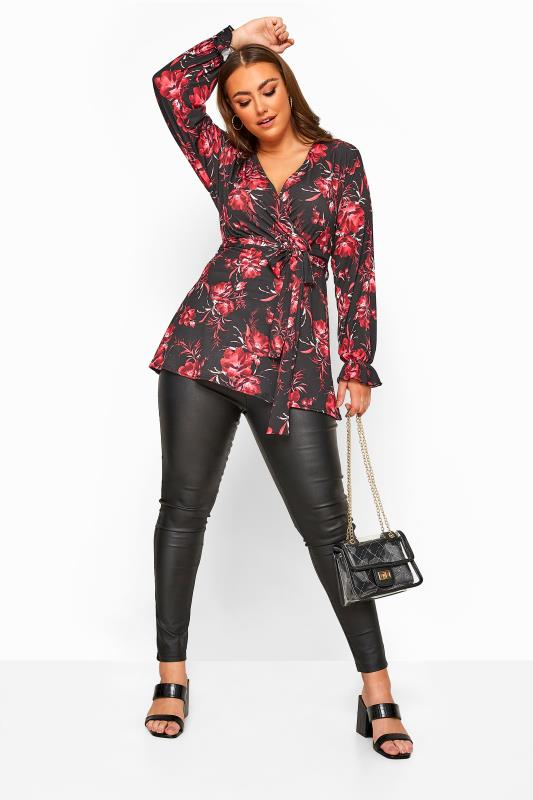 YOURS LONDON Black Floral Belted Wrap Top