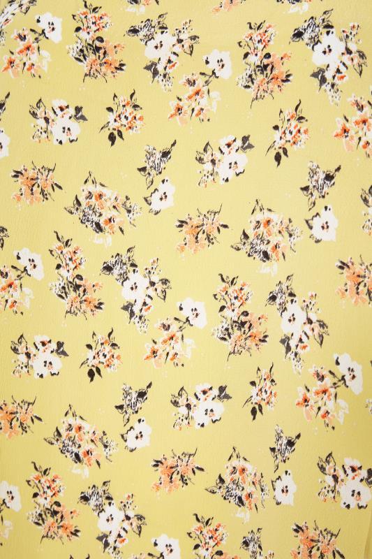 Yellow Floral Print Dipped Hem Blouse_S.jpg