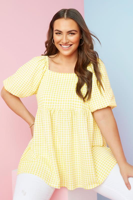 Plus Size  LIMITED COLLECTION Lemon Yellow Gingham Milkmaid Top