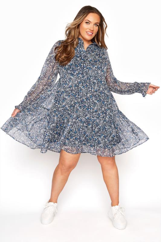 Blue Multi Metallic Floral Peplum Dress
