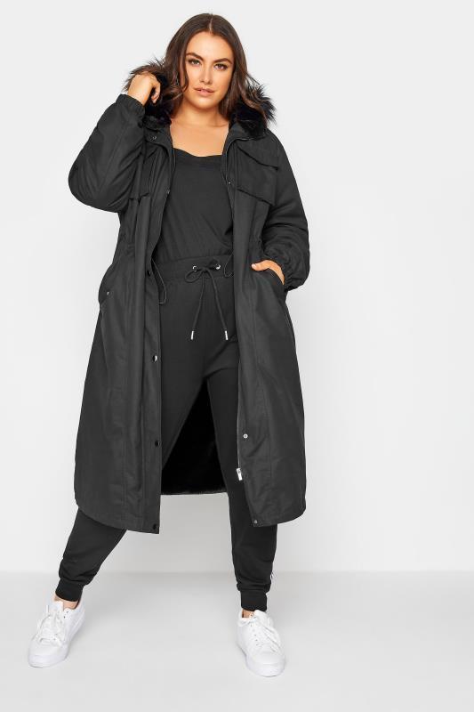 Plus Size  Black Faux Fur-Lined Longline Coat