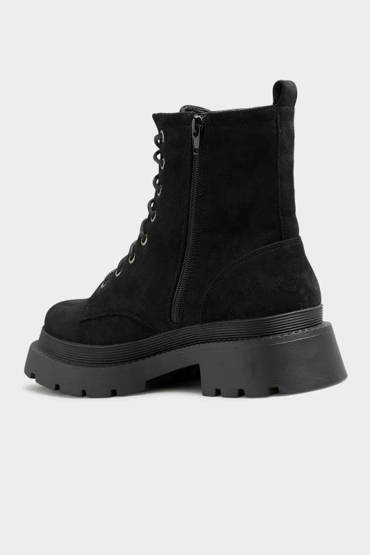 Black Faux Suede Chunky Lace-Up Boot in Regular Fit_D.jpg
