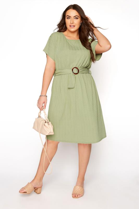 YOURS LONDON Green Ribbed Belted Dress_B.jpg