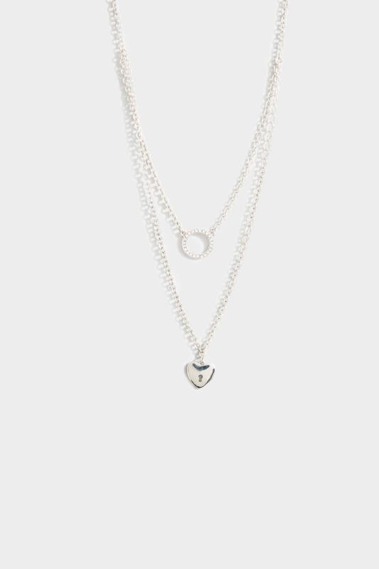 Silver Two Tier Heart Necklace