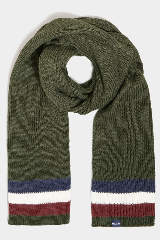 Men's  BadRhino Khaki Colour Block Knitted Scarf