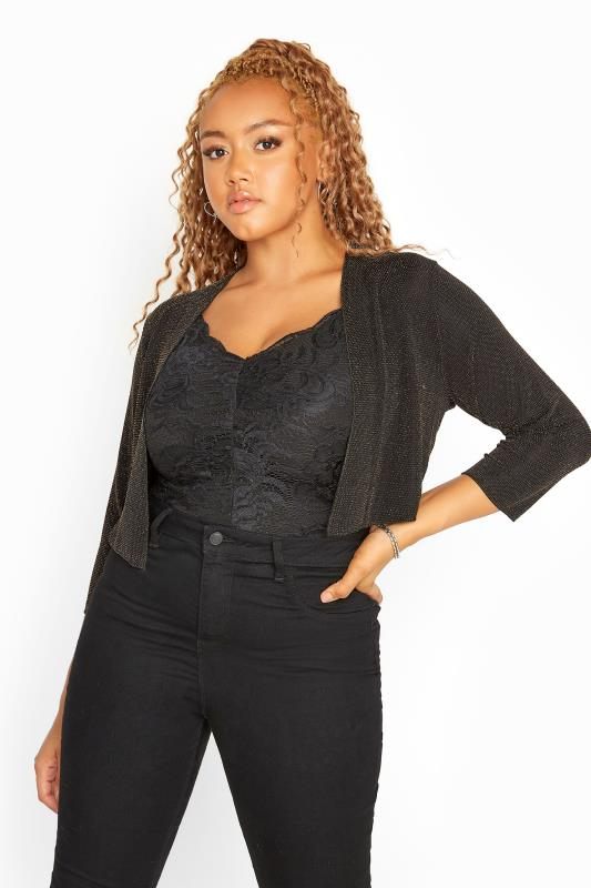 Plus Size Shrugs Gold Metallic Sparkle Shrug