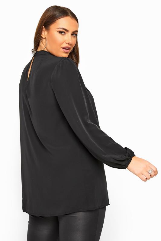 YOURS LONDON Black Pleated Choker Top