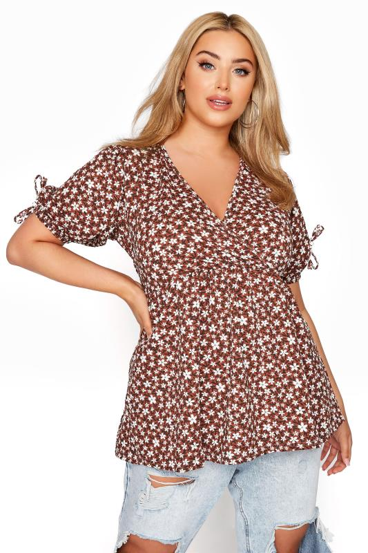 LIMITED COLLECTION Rust Floral Wrap Front Top_A.jpg
