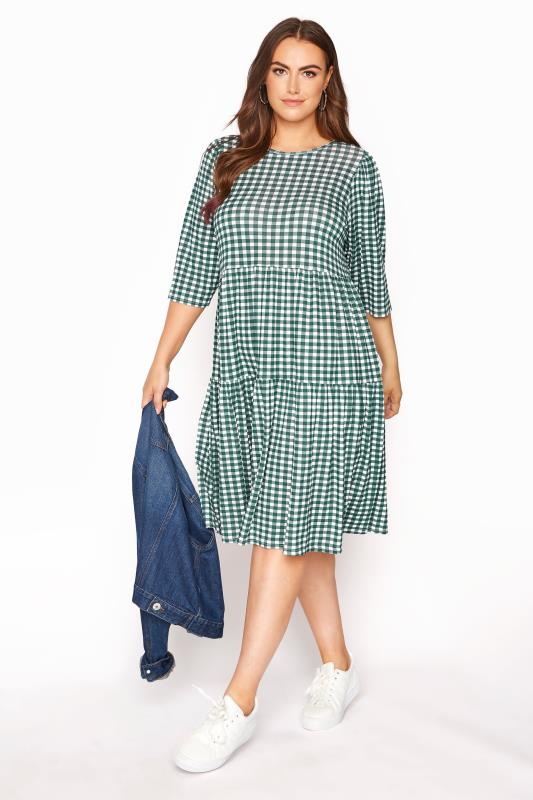 LIMITED COLLECTION Green Gingham Smock Midi Dress_B.jpg