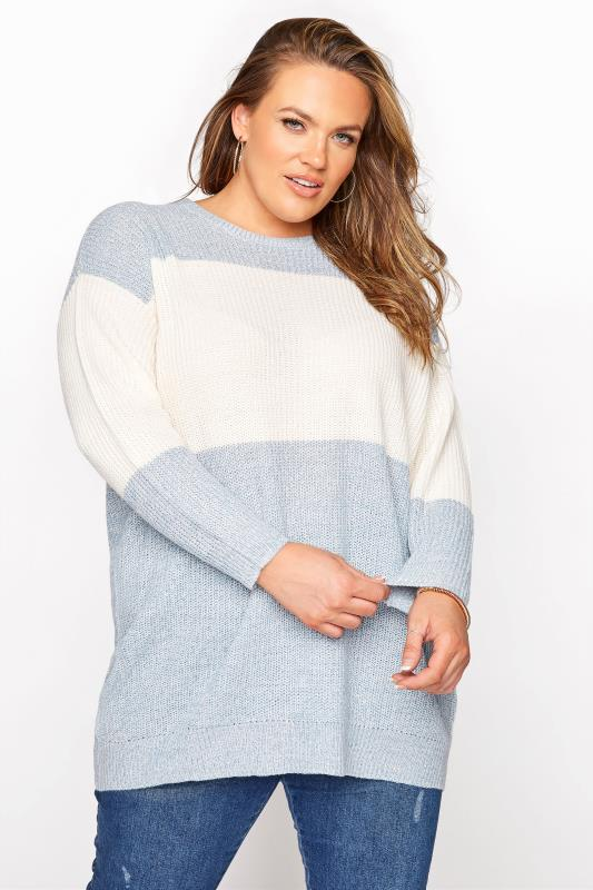 Plus Size  Baby Blue Colour Block Knitted Jumper
