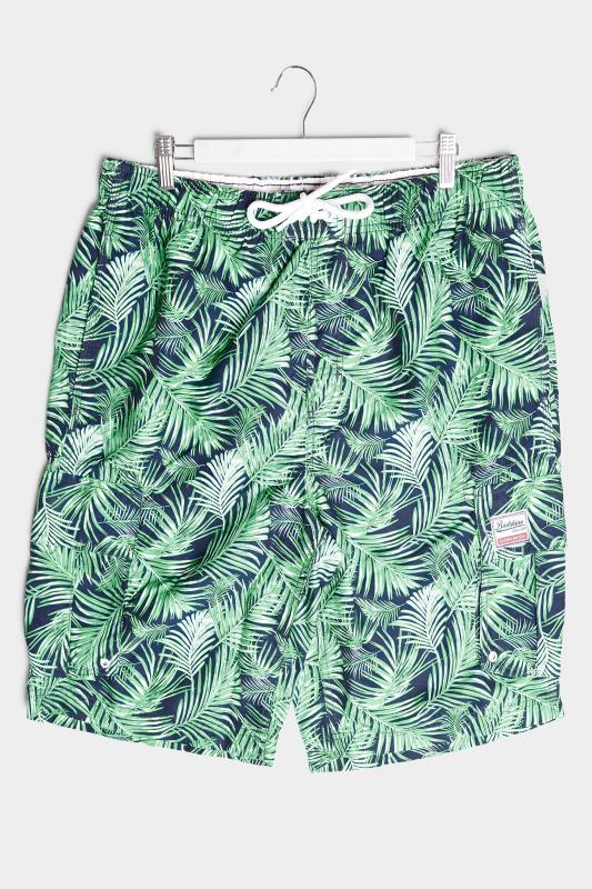 BadRhino Navy Palm Leaf Cargo Swim Shorts