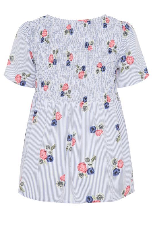 Blue Stripe Floral Shirred Top_bk.jpg