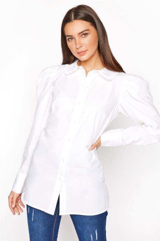 LTS White Cotton Ruffle Collar Shirt