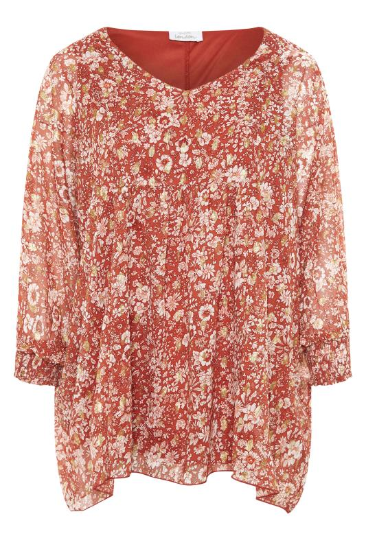 YOURS LONDON Rust Floral Batwing Sleeve Blouse_F.jpg